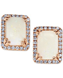 Opal (1 ct. t.w.) & Diamond (1/6 ct. t.w.) Stud Earrings in 14 Rose Gold