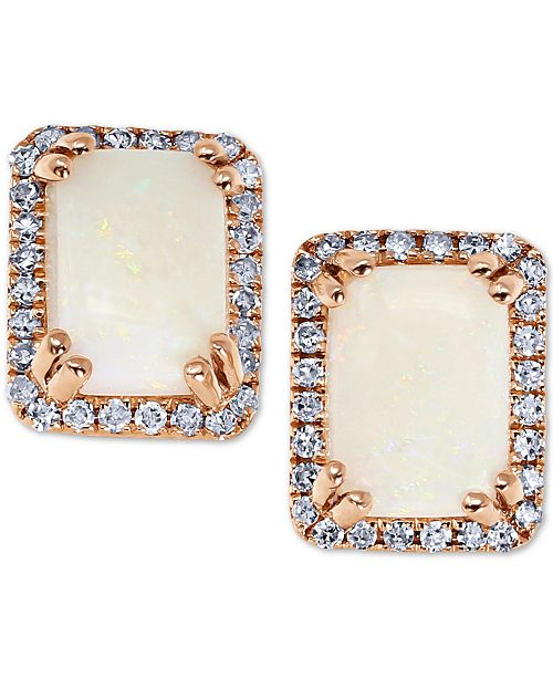 Macy's Opal (1 ct. t.w.) & Diamond (1/6 ct. t.w.) Stud Earrings in 14 Rose Gold