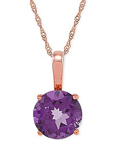 """Amethyst (2-1/2 ct. t.w.) 18"""" Pendant Necklace in 14k Rose Gold"""