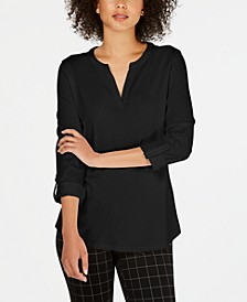 Supima® Cotton Split-Neck Top, Created for Macy's