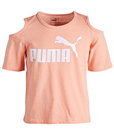 Puma Big Girls Logo-Print Cold-Shoulder T-Shirt