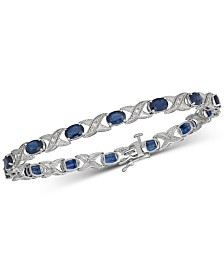 Blue Sapphire (5 ct. t.w.) & Diamond (1/4 ct. t.w.) Tennis Bracelet in 10k White Gold
