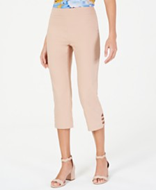 JM Collection Pull-On Lattice-Inset Capri Pants, Created for Macy's