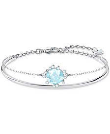 Silver-Tone Crystal Double-Layer Bangle Bracelet