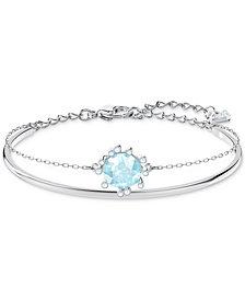 Swarovski Silver-Tone Crystal Double-Layer Bangle Bracelet