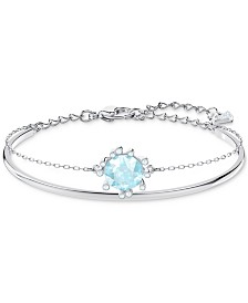 Swarovski Silver-Tone Crystal Double-Layer Bangle Bracelet