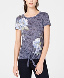 I.N.C. Embellished Tie-Hem T-Shirt, Created for Macy's