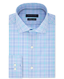 Tommy Hilfiger Men's Classic/Regular Fit Non-Iron THFlex Stretch Blue Check Dress Shirt