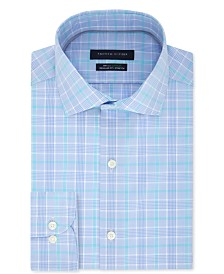Tommy Hilfiger Men's Classic/Regular Fit Non-Iron THFlex Stretch Blue Check Dress Shirt