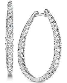 Diamond (3 ct. t.w.) Hoop Earrings in 14k White Gold