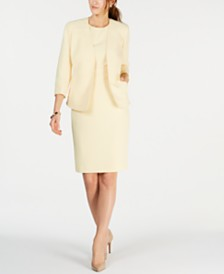 Kasper Textured Crepe Jacket, Sleeveless Jewel-Neck Stretch Crepe Dress