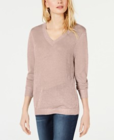 I.N.C. Metallic V-Neck Pullover Sweater, Created for Macy's