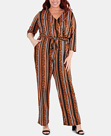 NY Collection Plus Size Striped Belted Jumpsuit