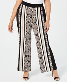 I.N.C. Plus Size Snake-Embossed Soft Pants, Created for Macy's