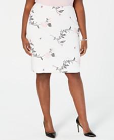 Kasper Plus Size Embroidered Scuba Crepe Skirt