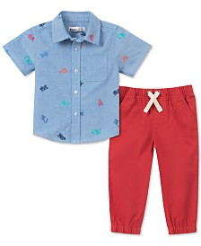 Kids Headquarters Baby Boys 2-Pc. Printed Oxford Shirt & Twill Jogger Pants Set