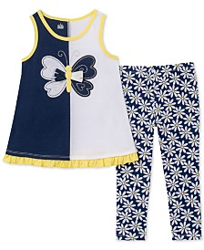 Kids Headquarters Baby Girls 2-Pc. Butterfly Tunic & Floral-Print Leggings Set