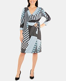 Patchwork 3/4-Sleeve Wrap Dress