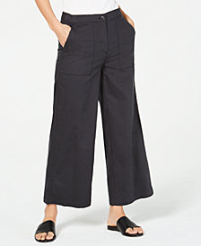 Eileen Fisher Organic Cotton Wide-Leg Ankle Pants