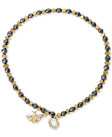 Cubic Zirconia Bee Beaded Stretch Bracelet in 18k Gold-Plated Sterling Silver & Silver-Plated Hematite