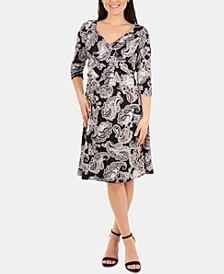 Printed Crossover-Bodice 3/4-Sleeve Dress