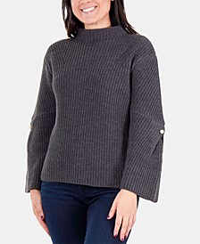 Bell-Sleeve Mock-Neck Sweater