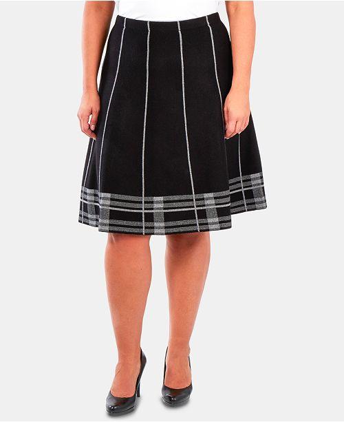 NY Collection Plus Size Plaid-Hem Knit Skirt