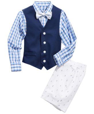 Little Boys 4-Pc. Oxford Shirt, Vest, Shorts & Bowtie Set