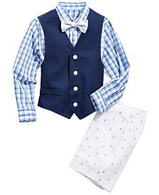 Nautica Toddler Boys 4-Pc. Oxford Shirt, Vest, Shorts & Bowtie Set