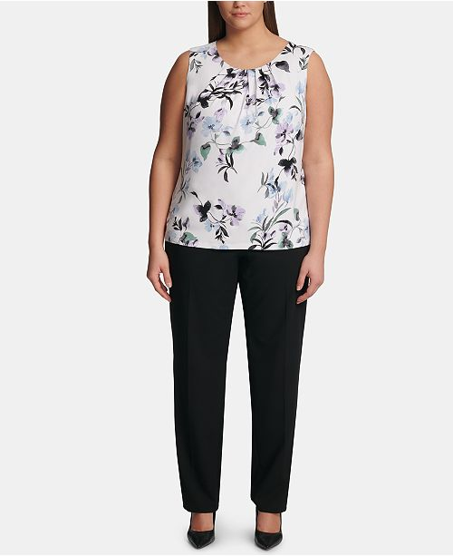 6bf1faef042 Calvin Klein Plus Size Printed Pleat-Neck Top   Reviews - Tops ...