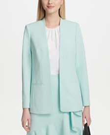 Calvin Klein Collarless Open-Front Jacket