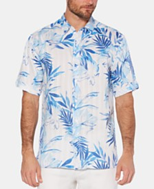Cubavera Men's Dobby Stripe Tropical-Print Linen Shirt