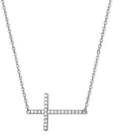 "Cubic Zirconia East-West Cross 18"" Pendant Necklace in Sterling Silver"