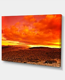 "Designart Dramatic Red Sunset At Desert Extra Large Wall Art Landscape - 32"" X 16"""