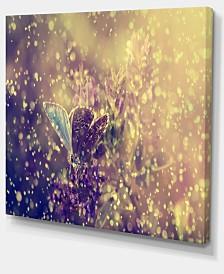 "Designart Blue Butterfly And Purple Flowers Canvas Art Print - 40"" X 30"""