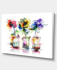 """Designart Abstract Flowers In Glass Vases Extra Large Floral Wall Art - 32"""" X 16"""""""