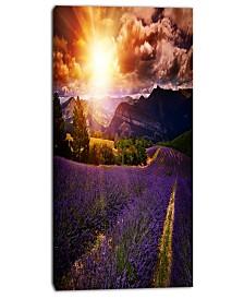 "Designart Beautiful Sunset Over Lavender Field Floral Canvas Art Print - 16"" X 32"""