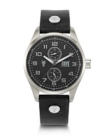 Frye Mens' Bowery Black Leather Strap Watch