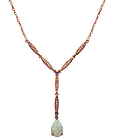 18K Rose Gold over Sterling Silver with Lab Created Opal and Cubic Zirconia Drop Y Design Necklace