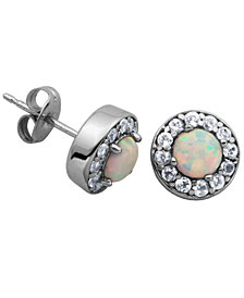 925 Sterling Silver with Lab Created Opal and Cubic Zirconia Round Stud Earrings