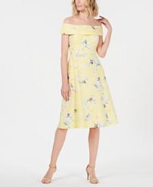 Calvin Klein Petite Off-The-Shoulder Floral Printed Eyelet Dress