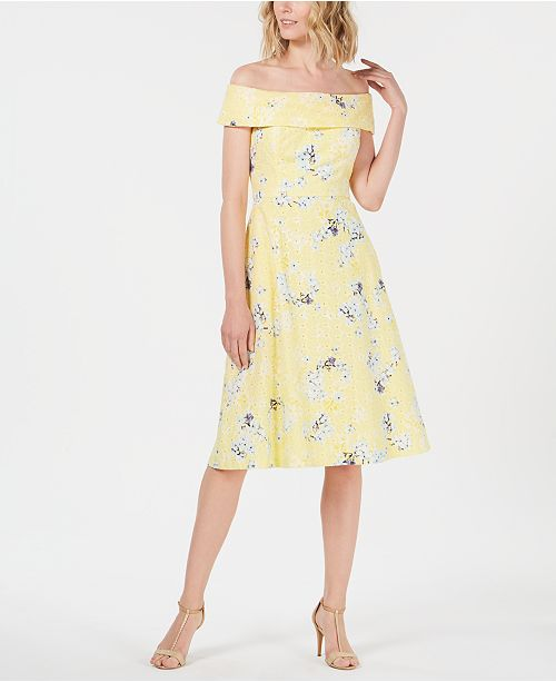 Petite Off-The-Shoulder Floral Printed Eyelet Dress