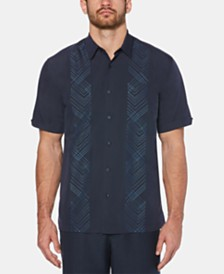 Cubavera Men's Big & Tall Geo Embroidered Panel Shirt