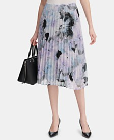 Calvin Klein Petite Floral-Print Pleated Skirt