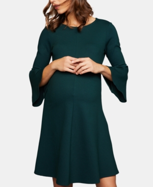 Vintage Maternity Clothing Styles 1910-1960 Isabella Oliver Maternity Bell-Sleeve A-Line Dress $139.97 AT vintagedancer.com