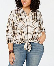 Lucky Brand Plus Size Plaid Boyfriend Shirt