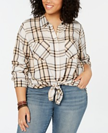 Lucky Brand Plus Size Plaid Boyfriend Shirt