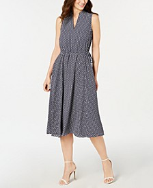 Printed Split-Neck Midi Dress