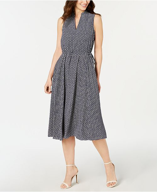 Anne Klein Printed Split-Neck Midi Dress