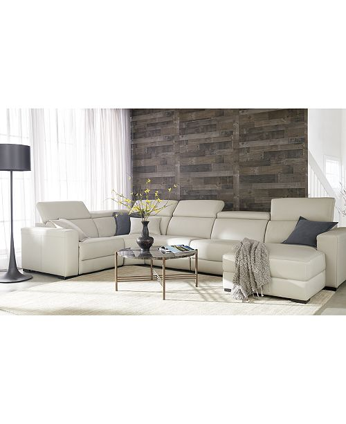 Stupendous Nevio Leather Fabric Power Reclining Sectional Sofa With Articulating Headrests Collection Created For Macys Cjindustries Chair Design For Home Cjindustriesco